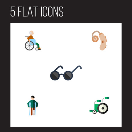 Flat Icon Handicapped Set Of Spectacles, Equipment, Audiology And Other Vector Objects. Also Includes Disabled, Spectacles, Handicapped Elements.