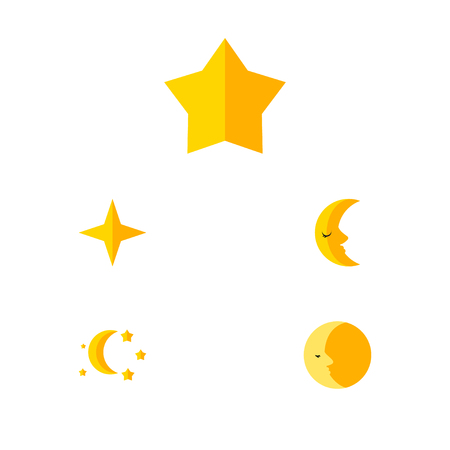 moonshine: Flat Icon Night Set Of Starlet, Star, Bedtime And Other Vector Objects. Also Includes Moon, Crescent, Twilight Elements. Illustration