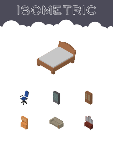 night table: Isometric Design Set Of Bedstead, Couch, Drawer And Other Vector Objects. Also Includes Settee, Office, Locker Elements.
