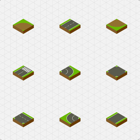 unilateral: Isometric Way Set Of Sand, Downward, Turn Vector Objects. Also Includes Intersection, Strip, Crossroad Elements.