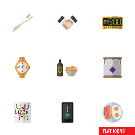 interval: Flat Icon Lifestyle Set Of Timer, Fried Egg, Beer With Chips And Other Vector Objects. Also Includes Alarm, Toothbrush, Electric Elements.