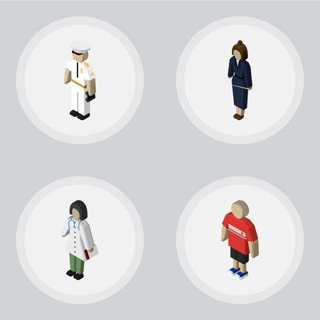Isometric People Set Of Doctor, Seaman, Businesswoman And Other Vector Objects. Also Includes Medic, Businesswoman, Guy Elements. Illustration