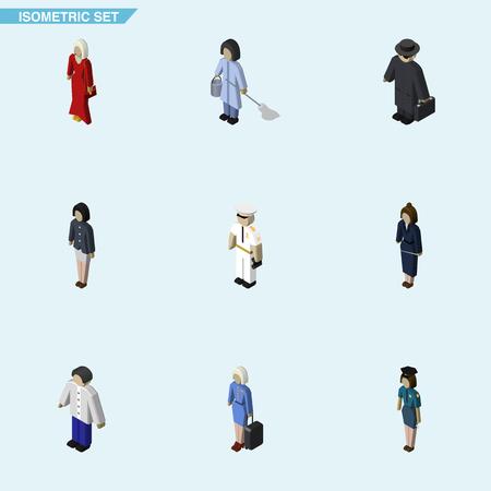 女性警察官、女性、船員および他のベクトル オブジェクトの等尺性人間のセットです。女性、女の子、船員の要素も含まれています。