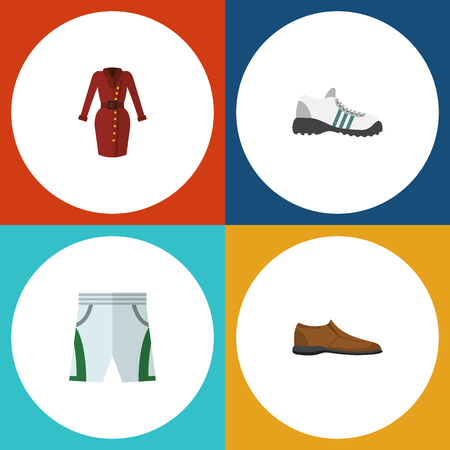 Flat Icon Clothes Set Of Clothes, Sneakers, Male Footware And Other Vector Objects. Also Includes Footware, Shoe, Gumshoes Elements. Illustration