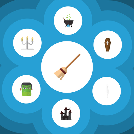 Flat Icon Festival Set Of Broom, Monster, Fortress And Other Vector Objects. Also Includes Witch, Candlestick, Broom Elements.