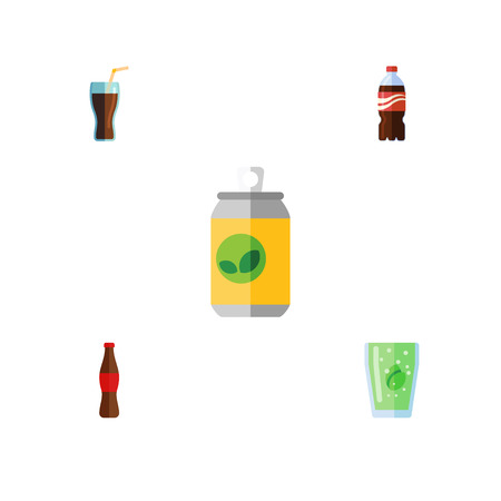 carbonated beverage: Flat Icon Drink Set Of Beverage, Bottle, Cola And Other Vector Objects. Also Includes Bottle, Fizzy, Cola Elements. Illustration