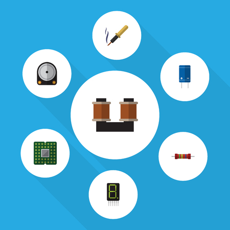 Flat Icon Technology Set Of Unit, Repair, Display And Other Vector Objects. Also Includes Calculator, Drive, Transistor Elements.