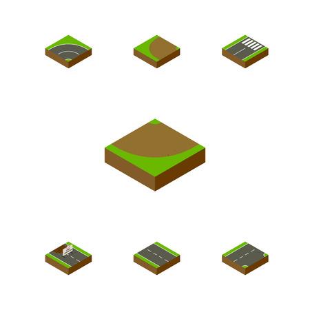 フッターの等尺性道路セット修理、ダウンと他のベクトル オブジェクト。また含まれている単一の下、砂の要素。