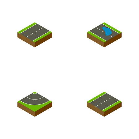 等尺性道路私道、ひび、Plash および他のベクトル オブジェクトのセットです。シングル、地震、私道の要素も含まれています。
