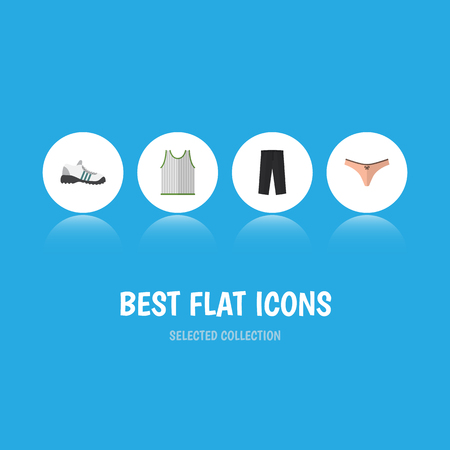 Flat Icon Clothes Set Of Pants, Lingerie, Singlet And Other Vector Objects. Also Includes Shoes, Lingerie, Gumshoes Elements. Illustration
