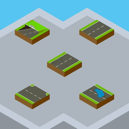 Isometric Road Set Of Plash, Rightward, Subway And Other Vector Objects. Also Includes Lane, Underground, Subway Elements. Illustration