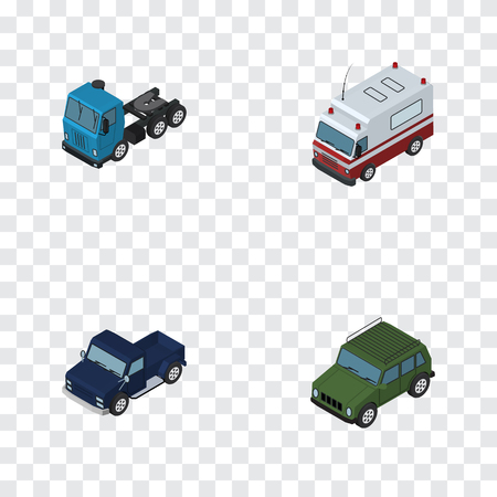 emergency engine: Isometric Automobile Set Of Suv, Armored, Truck And Other Vector Objects. Also Includes Truck, Lorry, Motor Elements.