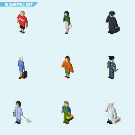 Isometric Human Set Of Plumber, Lady, Hostess And Other Vector Objects. Also Includes Medic, Policeman, Officer Elements.