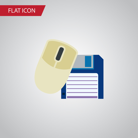 Isolated Floppy Disk Flat Icon. Computer Mouse Vector Element Can Be Used For Floppy, Mouse, Computer Design Concept. Illustration
