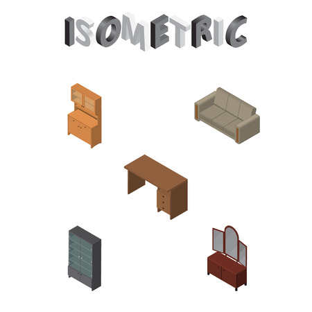 store shelf: Isometric Furniture Set Of Drawer, Cupboard, Couch And Other Vector Objects. Also Includes Mirror, Table, Closet Elements.