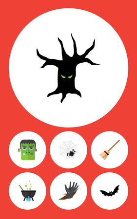 Flat Icon Halloween Set Of Broom, Superstition, Monster And Other Vector Objects. Also Includes Hand, Boiling, Broom Elements.