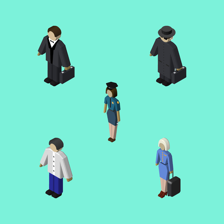 Isometric Person Set Of Male, Investor, Detective And Other Vector Objects. Also Includes Lady, Male, Detective Elements.