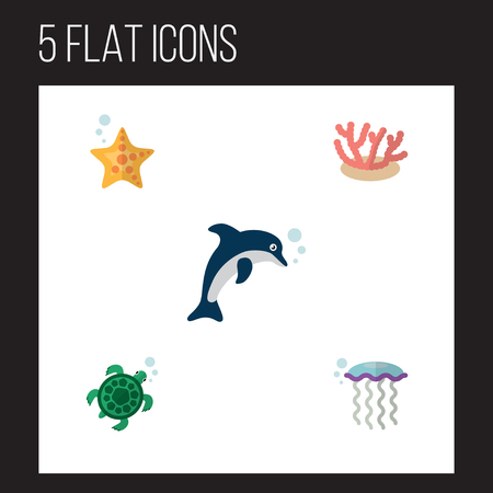 Flat Icon Marine Set Of Sea Star, Playful Fish, Algae And Other Vector Objects. Also Includes Algae, Underwater, Sea Elements. Çizim