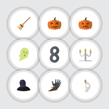 Flat Icon Celebrate Set Of Broom, Candlestick, Zombie Vector Objects. Also Includes Tomb, Broom, Corpse Elements. Illustration