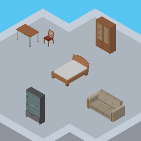 sideboard: Isometric Furnishing Set Of Couch, Sideboard, Chair And Other Vector Objects. Also Includes Sideboard, Chair, Sofa Elements.