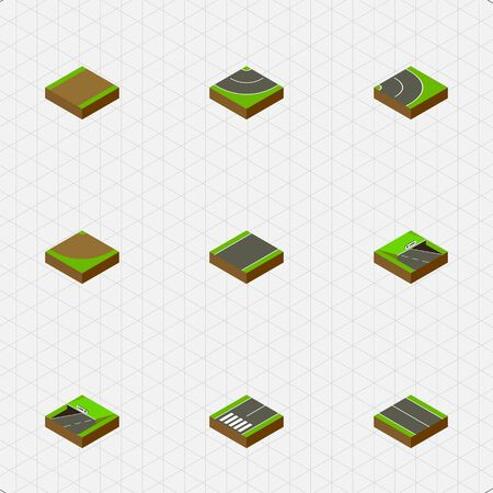 unilateral: Isometric Road Set Of Unilateral, Turn, Road And Other Vector Objects. Also Includes Footpassenger, Asphalt, Flat Elements. Illustration