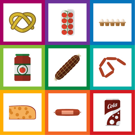bretzel: Flat Icon Food Set Of Tomato, Cookie, Eggshell Box And Other Vector Objects. Also Includes Eggshell, Ketchup, Frankfurt Elements.
