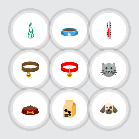 Flat Icon Pets Set Of Kitty Collar, Cat  Eating, Seaweed And Other Vector Objects. Also Includes Bird, Water, Hound Elements.