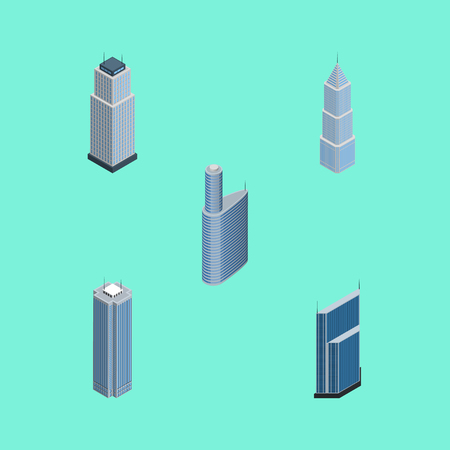 Isometric Skyscraper Set Of Skyscraper, Residential, Building And Other Vector Objects. Also Includes Apartment, Residential, Center Elements.