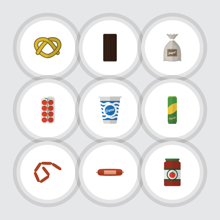 bretzel: Flat Icon Meal Set Of Kielbasa, Spaghetti, Confection And Other Vector Objects. Also Includes Biscuit, Bag, Cookie Elements.