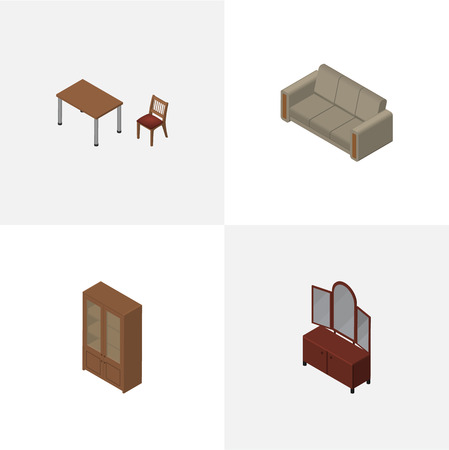 Isometric Design Set Of Chair, Couch, Drawer And Other Vector Objects. Also Includes Sofa, Sideboard, Locker Elements.