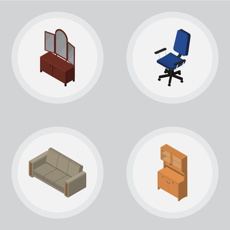 Isometric Design Set Of Drawer, Cupboard, Couch And Other Vector Objects. Also Includes Wardrobe, Settee, Sideboard Elements.