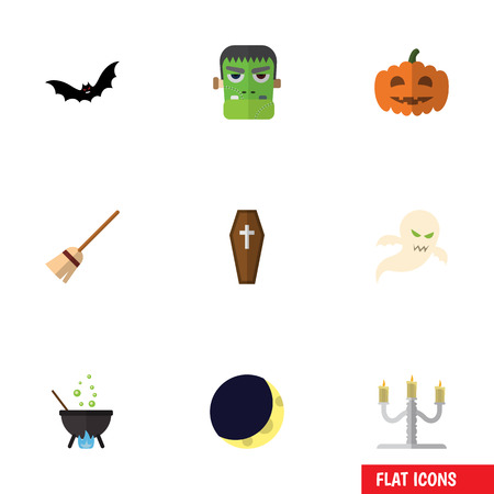 Flat Icon Festival Set Of Superstition, Monster, Candlestick Vector Objects. Also Includes Boiling, Cauldron, Moon Elements.