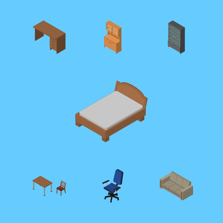 sideboard: Isometric Design Set Of Sideboard, Table, Cupboard And Other Vector Objects. Also Includes Drawer, Wardrobe, Bed Elements.