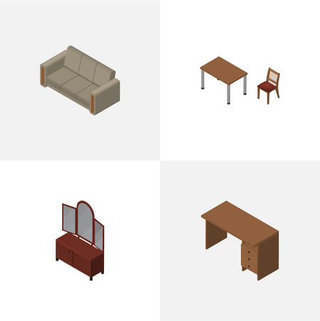 Isometric Furnishing Set Of Couch, Table, Drawer And Other Vector Objects. Also Includes Table, Cupboard, Couch Elements. Illustration
