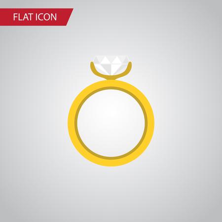 Icône plate anneau isolé. L'élément de vecteur de fiançailles peut être utilisé pour l'anneau, mariage, concept de fiançailles.