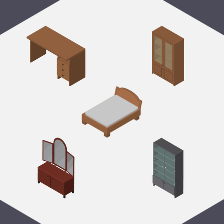 Isometric Design Set Of Drawer, Bedstead, Table And Other Vector Objects. Also Includes Bed, Cabinet, Sideboard Elements.