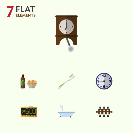 pendulum: Flat Icon Oneday Set Of Beer With Chips, Watch, Tub And Other Vector Objects. Also Includes Chips, Alarm, Shower Elements.