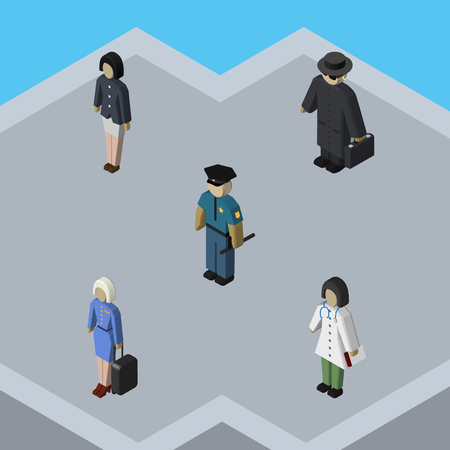 Isometric Person Set Of Girl, Officer, Detective And Other Vector Objects. Also Includes Hostess, Policeman, Police Elements.
