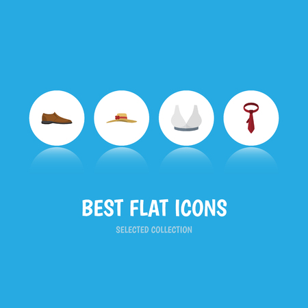 Flat Icon Clothes Set Of Male Footware, Elegant Headgear, Brasserie And Other Vector Objects. Also Includes Tie, Cravat, Woman Elements. Illustration