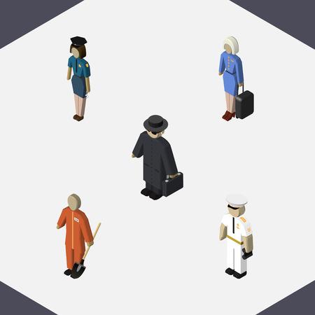 女性警察官、探偵、クリーナー、他のベクトル オブジェクトの等尺性人セット。セーラー、ホステス、スチュワーデスの要素も含まれています。