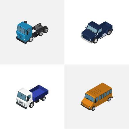 Isometric Car Set Of Lorry, Truck, Autobus And Other Vector Objects. Also Includes Transport, Motor, Car Elements.