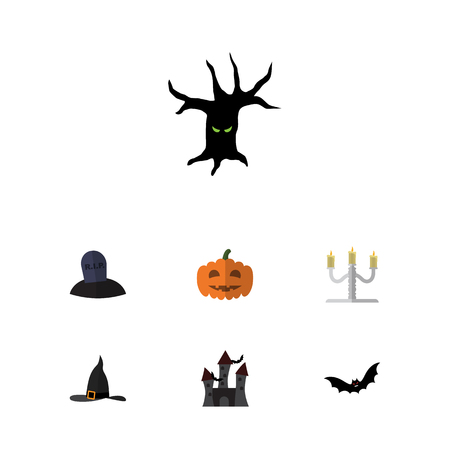 Flat icon Halloween set of candlestick, pumpkin, witch hat, fortress and spooky elements
