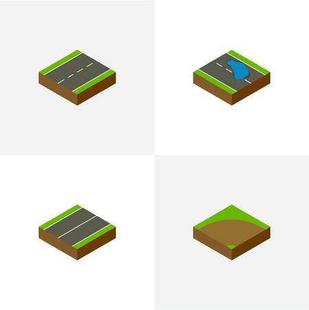 Isometric way set of one way, turn, sand, driveway and other  plane elements Illustration