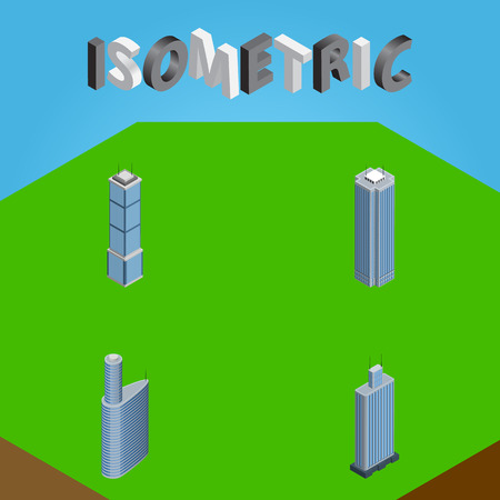 Isometric Skyscraper Set Of Skyscraper, Apartment, Building And Other Vector Objects. Also Includes Center, Building, Apartment Elements.