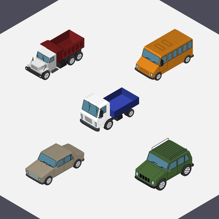 Isometric Automobile Set Of Auto, Lorry, Armored And Other Vector Objects. Also Includes Truck, Car, Freight Elements.