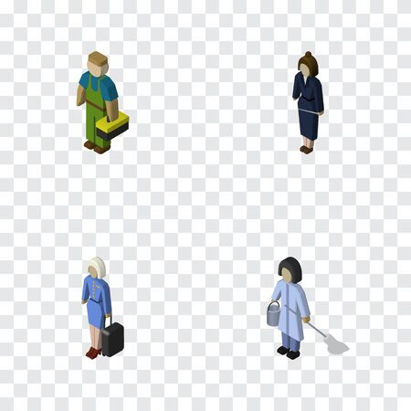 Isometric Person Set Of Plumber, Hostess, Businesswoman And Other Vector Objects. Also Includes Plumber, Housekeeper, Cleaner Elements.