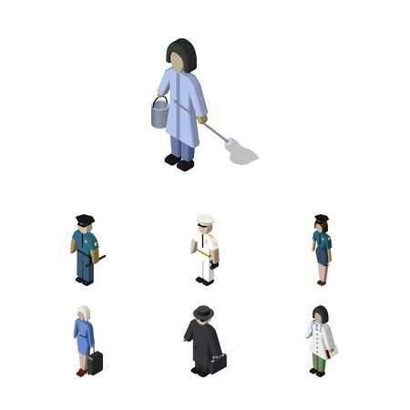 Isometric Person Set Of Officer, Doctor, Seaman And Other Vector Objects. Also Includes Seaman, Cleaner, Female Elements.