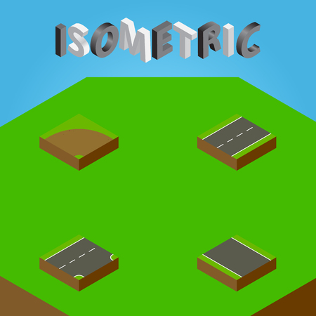 tarmac: Isometric Way Set Of Without Strip , Driveway, Sand Vector Objects. Also Includes Sand, Road, Strip Elements.