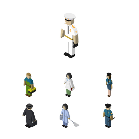 等尺性人メイド、医者、役員と他のベクトル オブジェクトのセットです。警官、セーラー、役員要素も含まれています。