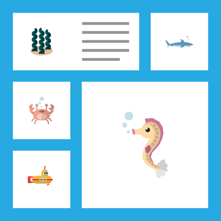 Flat Icon Nature Set Of Alga, Cancer, Periscope And Other Vector Objects. Also Includes Shark, Periscope, Spirulina Elements. Illustration